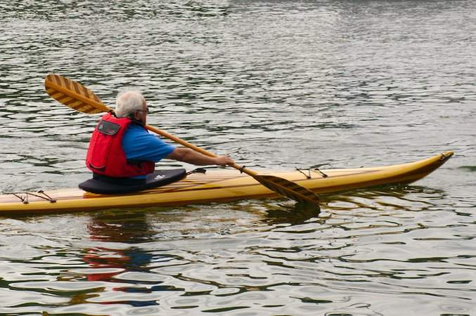 Guillemot Small is an efficient and responsive cedar-strip sea kayak for smaller paddlers
