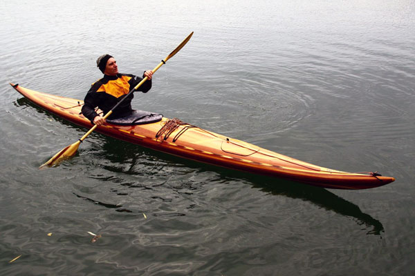 Guillemot stable and efficient cedar-strip sea kayak
