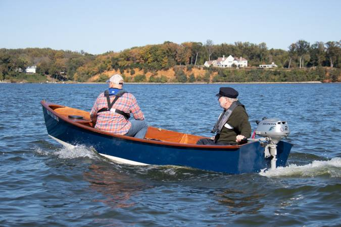 Motoring the Jimmy Skiff II wooden kit boat