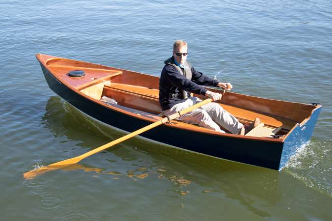 The Jimmy Skiff II rowing boat built from a wooden kit