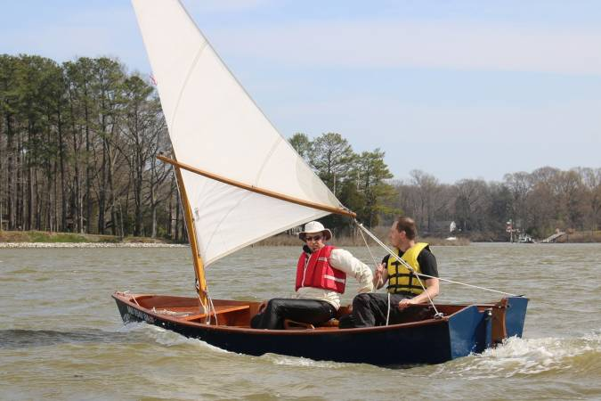 The Jimmy Skiff II is a fun and stable wooden sailing boat built from a plywood kit