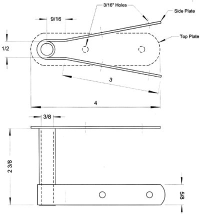 Diagram of kayak rudder mount