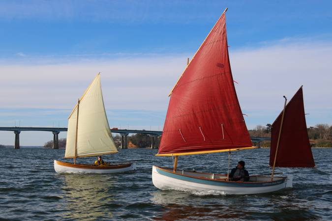The Lighthouse Tender Peapod has two sailing rig options: cat-yawl or single lug sail