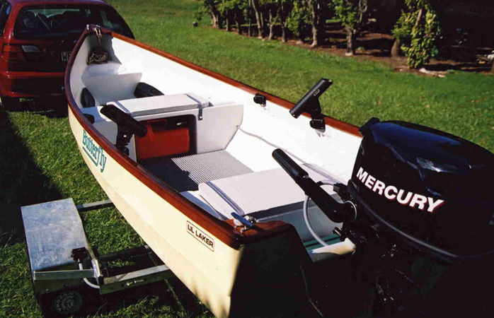 Little Laker motor canoe home built from plans
