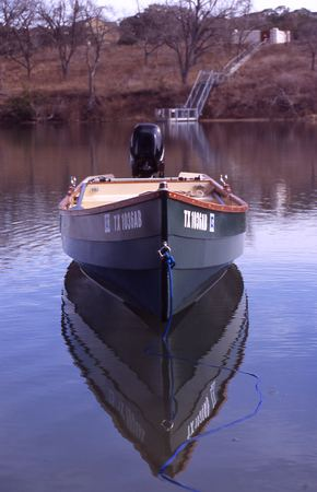 Wooden fishing boat built from Nichols plans
