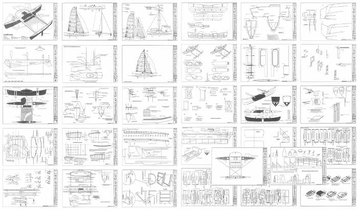 The Madness proa plans include 31 sheets of architectural drawings, also included in the wood kit