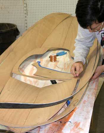 Wiring together the hull of a Matunuck surf boat from Fyne Boat Kits