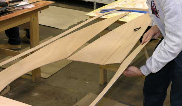 Wiring together the hull of the Matunuck surf kayak