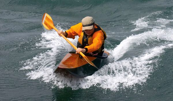 Fast surfing in the Matunuck surf kayak