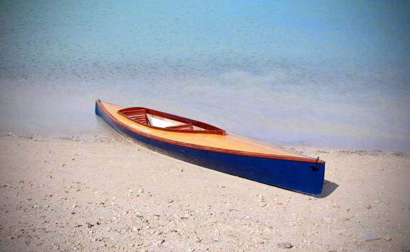 Mill Creek 16.5 Hybrid kayak with a cedar-strip deck