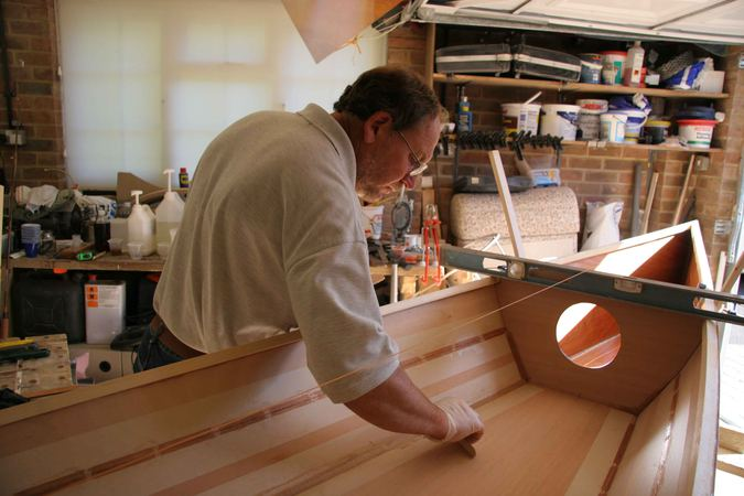 Building a CLC wooden kayak filleting the joints with epoxy