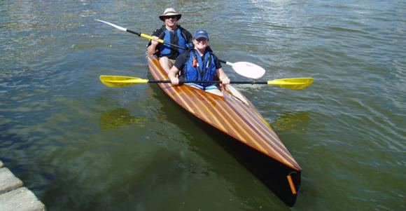 Cedar strip deck version of a Mill Creek Kayak