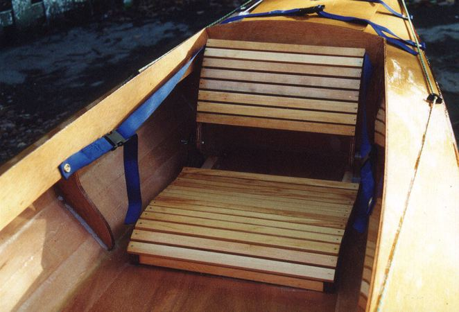 Standard wooden seat in Mill Creek canoe