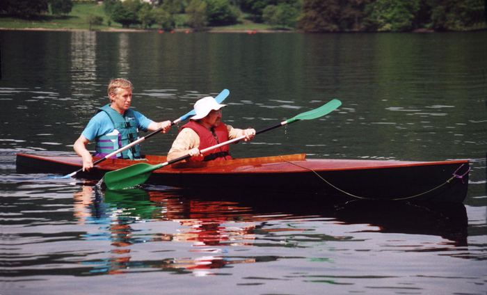 Paddling your self build wooden canoe