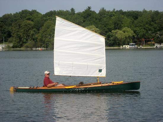 Wooden home made canoe that sails well
