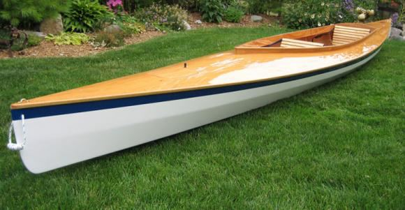 A beautifully finished Mill Creek wooden kayak