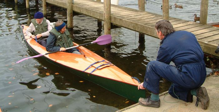 Tandem or two seat wooden kayak