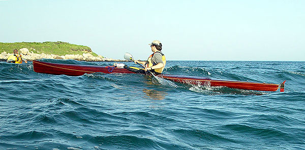 Mystery Bootlegger mahogany-strip racing sea kayak