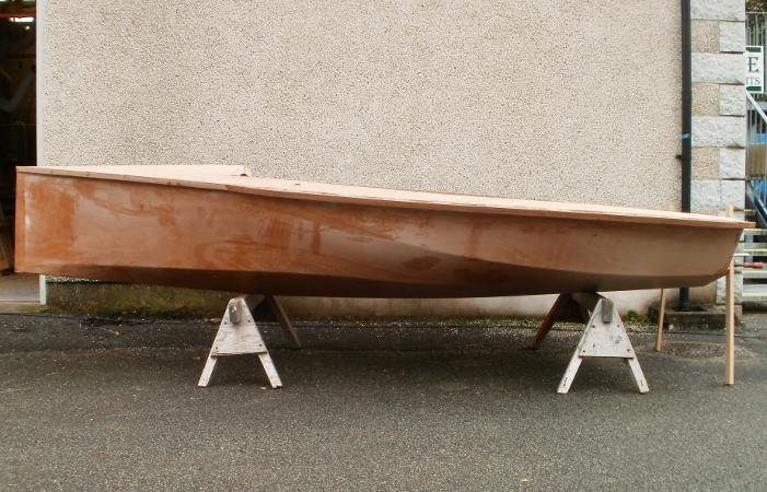 The innovative hull shape of Colin Cumming's Sweet Chariot National 12 racing boat