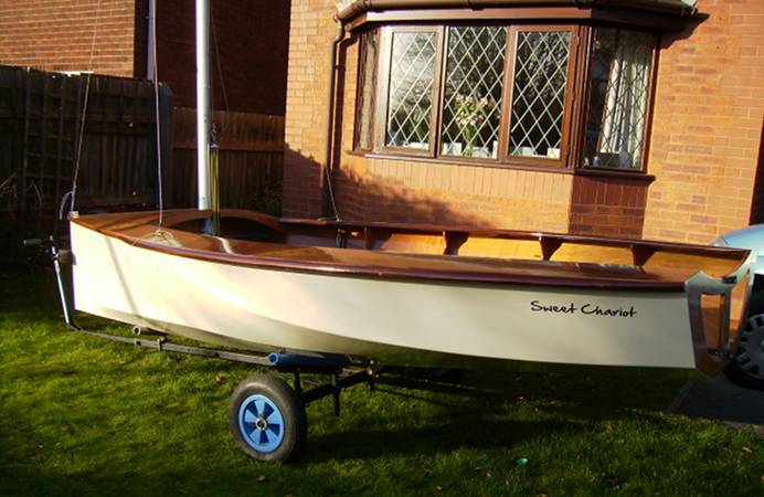 Modern self-built wooden National 12 boat