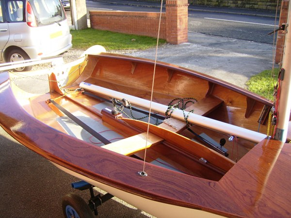Wooden deck of a National 12 racing dinghy