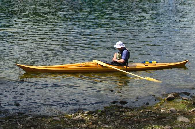 Hybrid Night Heron sea kayak with a cedar strip deck