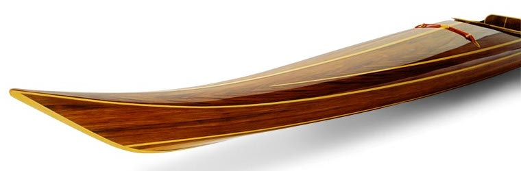 Varnished bow of a Night Heron cedar strip sea kayak