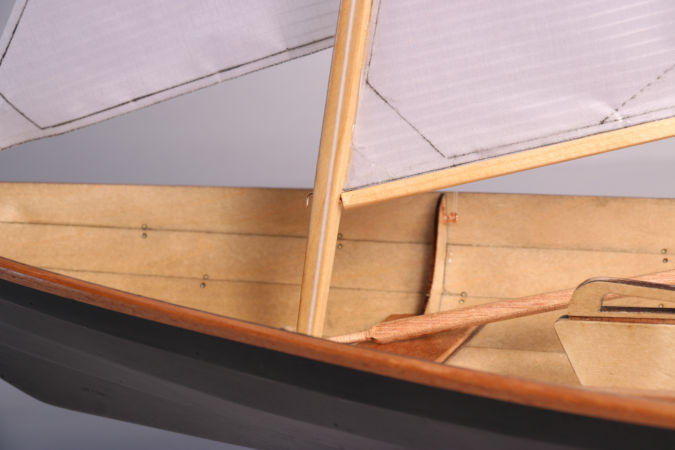 A scale model of the Northeaster Dory, constructed like the full-size boat