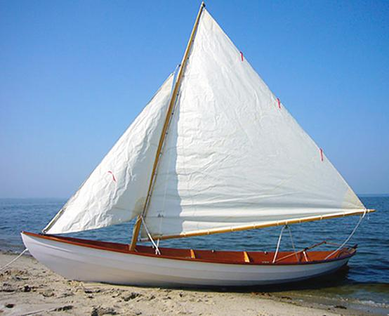 Northeaster Dory rigged for sailing