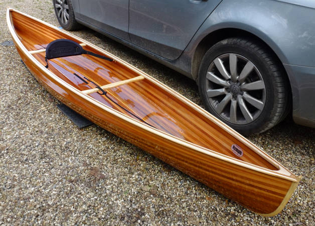 The Nymph solo canoe, built from lightweight cedar strips