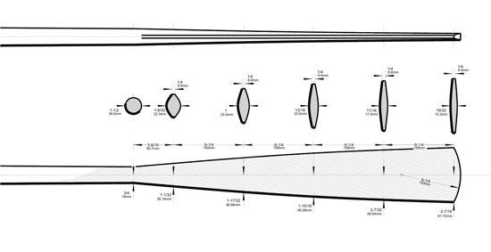 Detailed plans and diagrams for constructing traditional wooden oars