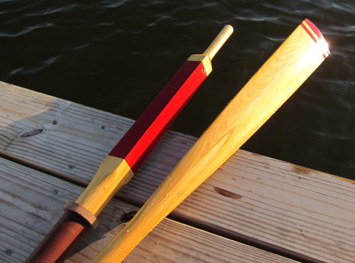 Traditional wooden oars made from plans and a step-by-step manual