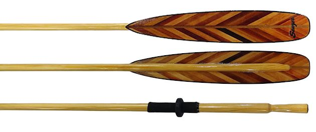 Wooden gig oars with v-laminated spoon blades