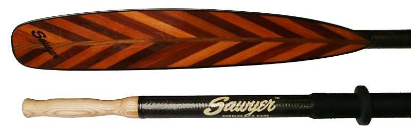Sawyer v-laminated wooden ocean rowing oars reinforced with carbon fibre