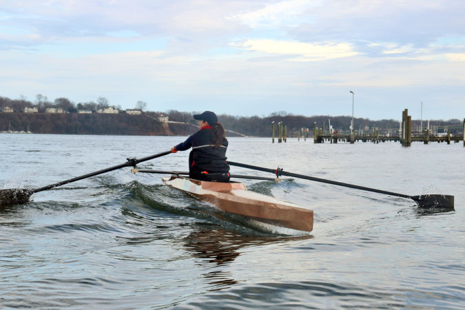 Oxford Shell - a lightweight wooden rowing shell for rec-racing, workouts or ocean rowing