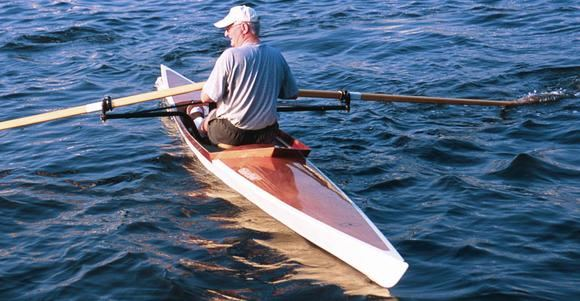 Oxford rowing shell in rough water