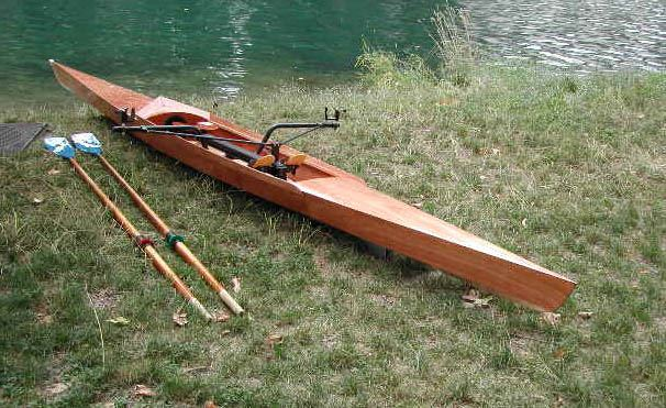 Home made sliding seat rowing shell