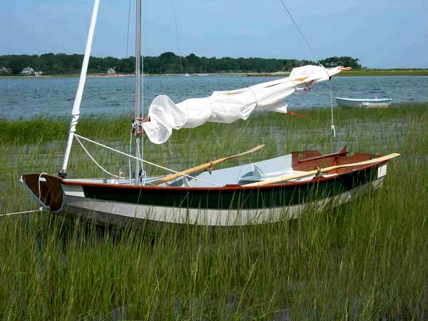 Family home made sailing boat in a marsh