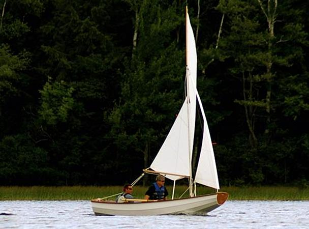 Home made clinker sailing boat