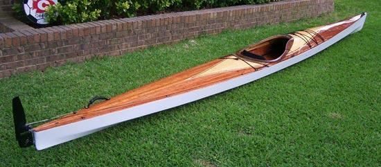 A cedar-strip decked Pax 20 wooden kayak
