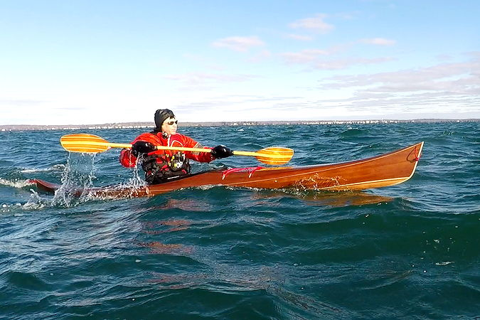 The Petrel Play cedar-strip wooden sea kayak