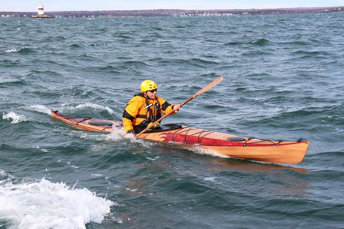 The Petrel Play wooden sea kayak