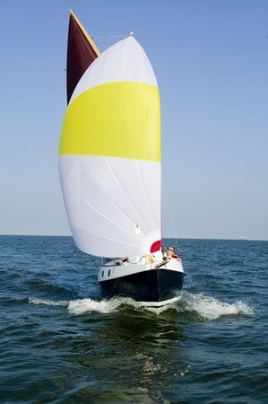 Spinnaker on a home made trailer sailer cruising yacht