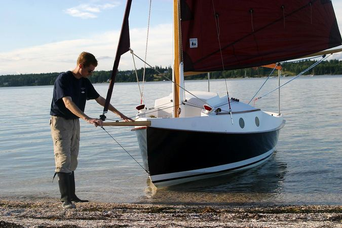 Shallow draft of sailing cruiser Pocketship makes it easy to launch