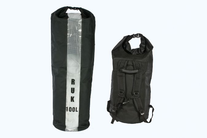 100 litre Ruk dry bag with rucksack carry straps