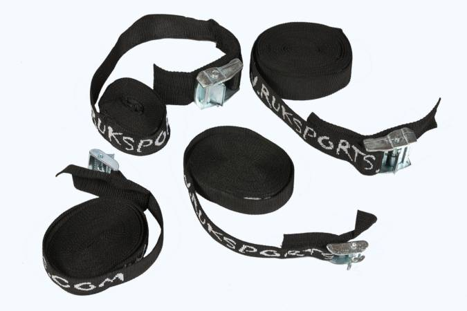 Extra-wide webbing straps with heavy-duty cam buckles for fastening a boat to a roof rack or trolley