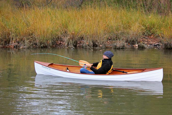 Fishing in the Sassafras 12 mkII solo canoe