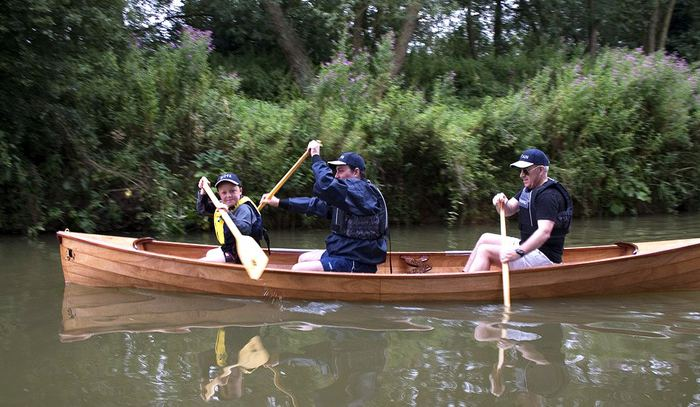 Three seat canoe in clinker style