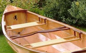 Cane seats installed in a Sassafras canoe