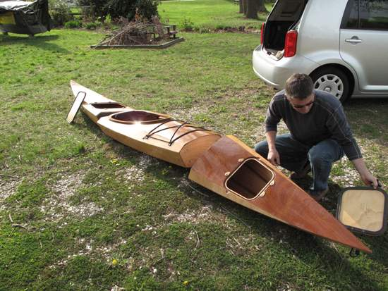 Assembly of the three-piece sectional Shearwater kayak